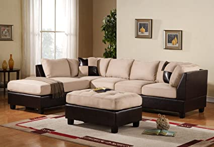 Case Andrea Milano 3 Piece Microfiber Faux Leather Sectional Sofa With  Ottoman, Beige