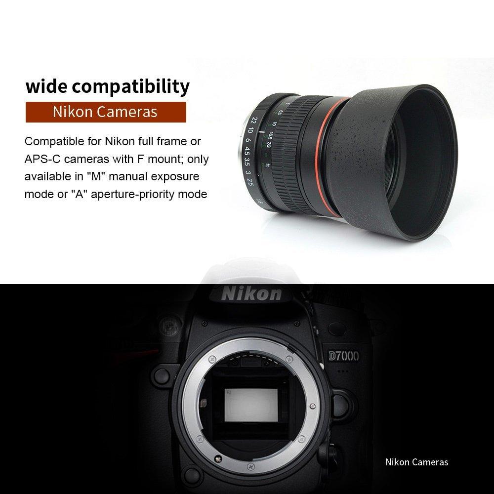 Amazon.com : Kelda 85mm F1.8 Full Frame Manual Focus Telephoto Lens ...