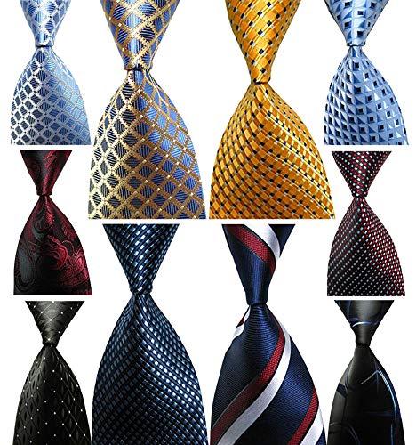 (Wehug Lot 10 PCS Classic Men's tie 100% Silk Tie Woven Jacquard Neckties Ties for men )