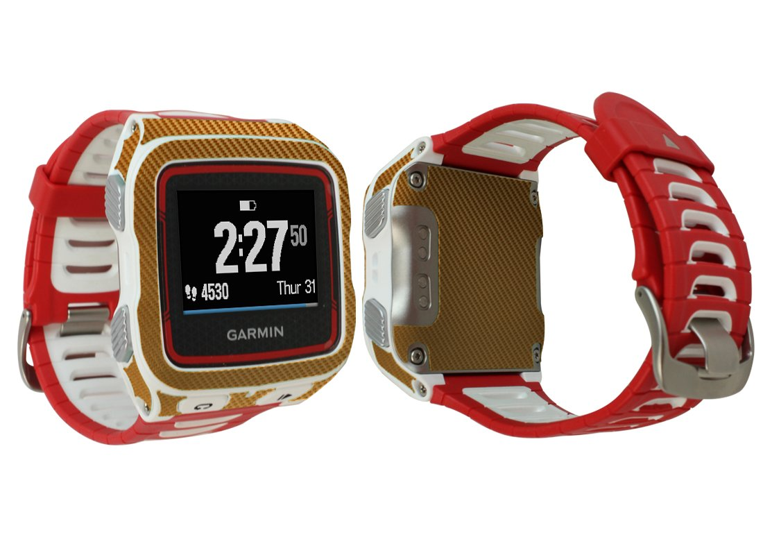Skinomi TechSkin - Garmin Forerunner 920XT Screen Protector + Gold Carbon Fiber Full Body Skin/ Front & Back Wrap Clear Film / Ultra HD and Anti-Bubble Invisible Shield