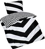 Aminata– moderne Wende-Bettwäsche 135x200 cm Schwarz Weiß Baumwolle Reißverschluss Zick Zack Dreiecke Streifen Chevron Bettbezug 2-teiliges Bettwäscheset Bezug Ganzjahr Normalgröße Jungen Mädchen