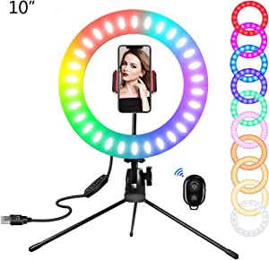 SICCOO Ring Light, 10 inch LED Dimmable RGB Selfie Ring Light on Desktop Colorful Makeup Light with USB for Makeup, Live Stream/YouTube Video/Vlogging/Selfie/Photography(RGB, 10inch)