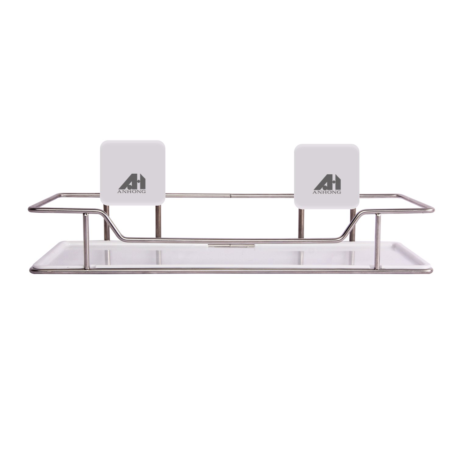 ANHONG [Nail Free] [5Kg Load Bearing] 3M Very High Bond VHB Adhesive Multi Functional Stainless Steel Bath and Kitchen Organizer Wall Mount Storage Rack Shelf with Acrylic Panel, Chrome