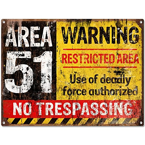 Area 51 No Trespassing Military Vintage Game Room Sign 16 x 12