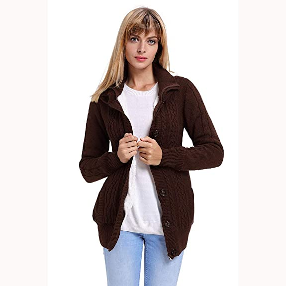 7e69af72058 Amazon.com  Amiley Women Pockets Hooded Knit Cardigans Button Cable Knit  Long Sleeve Chunky Warm Sweater Coat Blouses for Autumn Winter  Shoes