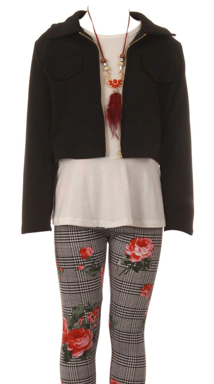 Big Girl 4 PCS Jacket Tank Top Floral Legging Pant Necklace Casual Clothing Girl Pant Set Coral 12 JKS 2141