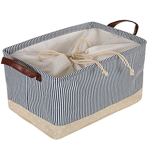 Littlegrass Canvas Storage Basket Handles Drawstring Foldable Fabric Bin Cube Collapsible Universal Household Organizer For Toys Clothing 16