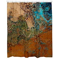 Abstract Art Shower Curtain Southwest Bathroom Decor In Rust And Turquoise