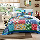 Tache 2 Piece Patchwork Dreamy Meadow Floral Quilt Bedspread Set, Twin