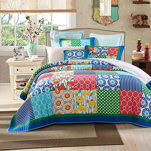 Tache 2 Piece Patchwork Dreamy Meadow Floral Quilt Bedspread Set, Twin by Tache Home Fashion
