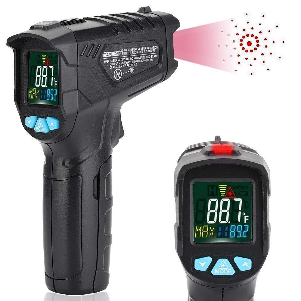 Ir Misurazione della Temperatura sulla Fronte Senza Contatto LCD Display Digitale Retroilluminato A Tre Colori ℃ Entweg Termometro A Infrarossi ℉ Precisione /± 0,2 ℃