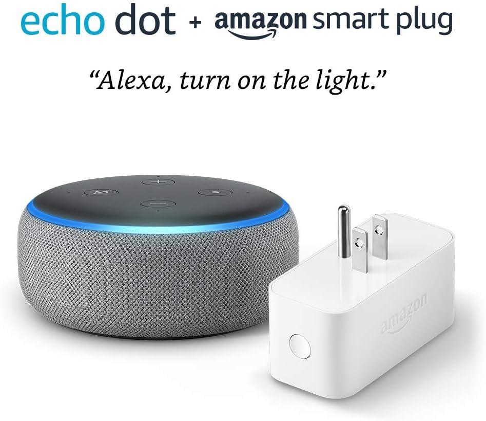 Echo Dot (3rd Gen) bundle with Amazon Smart Plug - Heather Gray