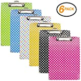 Emraw Paperboard Clipboard Colorful Polka Dot Patterned Large Standard Size Paperboard Assorted Bright Colored Hardboard Set Low Profile Clip - 6 Pack Wall Mount Clip Boards