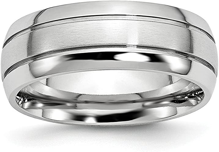 Jewelry Pilot 6mm Satin Finish Cobalt Chromium Beveled Edge Wedding Band