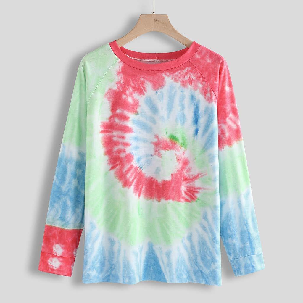 ZhixiaYS Women Long Sleeve O-Neck Sweatshirt Colorblock Tie Dye Printed Pullover Tops