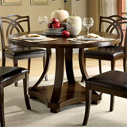 Furniture of America Lafayette Round Dining Table in Dark Walnut ()