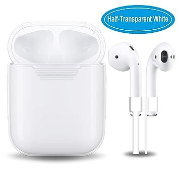 Airpods carcasa de silicona con correa de deporte, gulaki AIRPOD colgar caja con cubierta antideslizante y piel accesorios para Apple Wireless Airpods ...