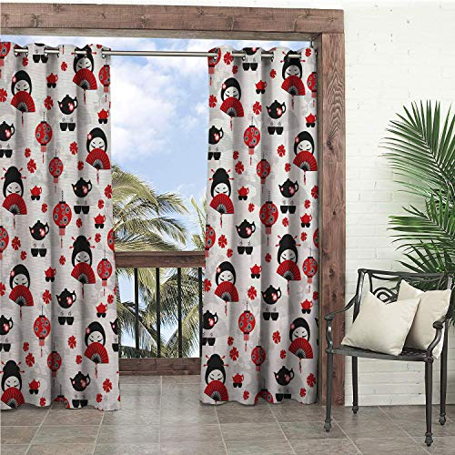 Linhomedecor Garden Waterproof Curtains Lantern Geisha Japanese Fan Ancient Chinese Traditional Tea Pot Floral Graphic Design Black Red Porch Grommet Bathroom Curtain 108 by 84 inch