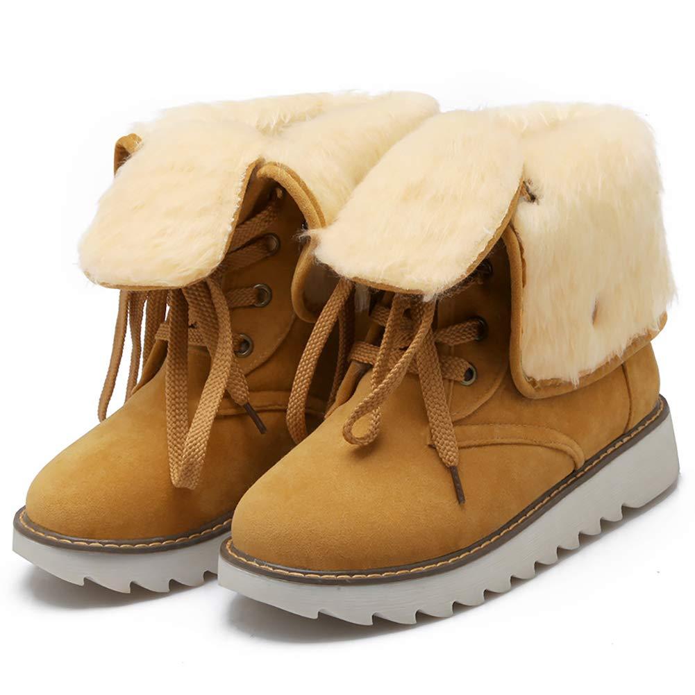 DLBJ Weibliche Modelle im Winter Winter Winter Martin Stiefel aus Mattiertem Rundem Kopf und Flachen Dekorativen Schnürstiefeln mit Manschetten,Gelb,EU40.5 UK6.5 090e6c