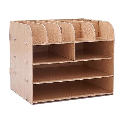 Dreamworth Desk Organizer File Storage Box Holder Wood Files Supplies  Office Supply Organizer DIY Wooden Detachable
