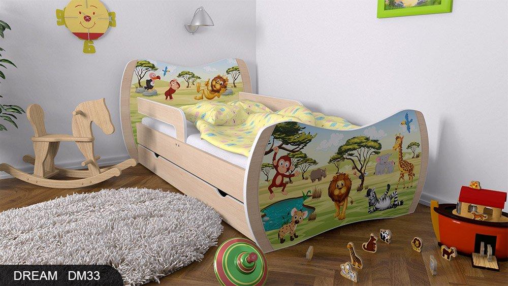 Kinderbett Birne mit Matratze Bettkasten und Lattenrost - verschiedene Motive DM (Safari, 180x90)
