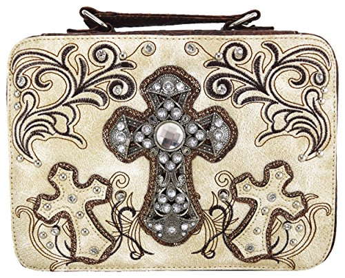 - Western Embroidered Scripture Verse Psalm Bible Cover Books Case Cross Extra Strap Messenger Bag (Beige2)