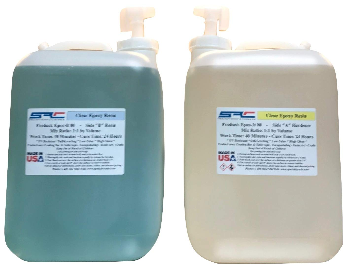Epox-It 80 Clear Epoxy Resin for Coating Wood Table Tops Bar Top Resin Art - 10 Gallon Kit by Specialty Resins (Image #1)