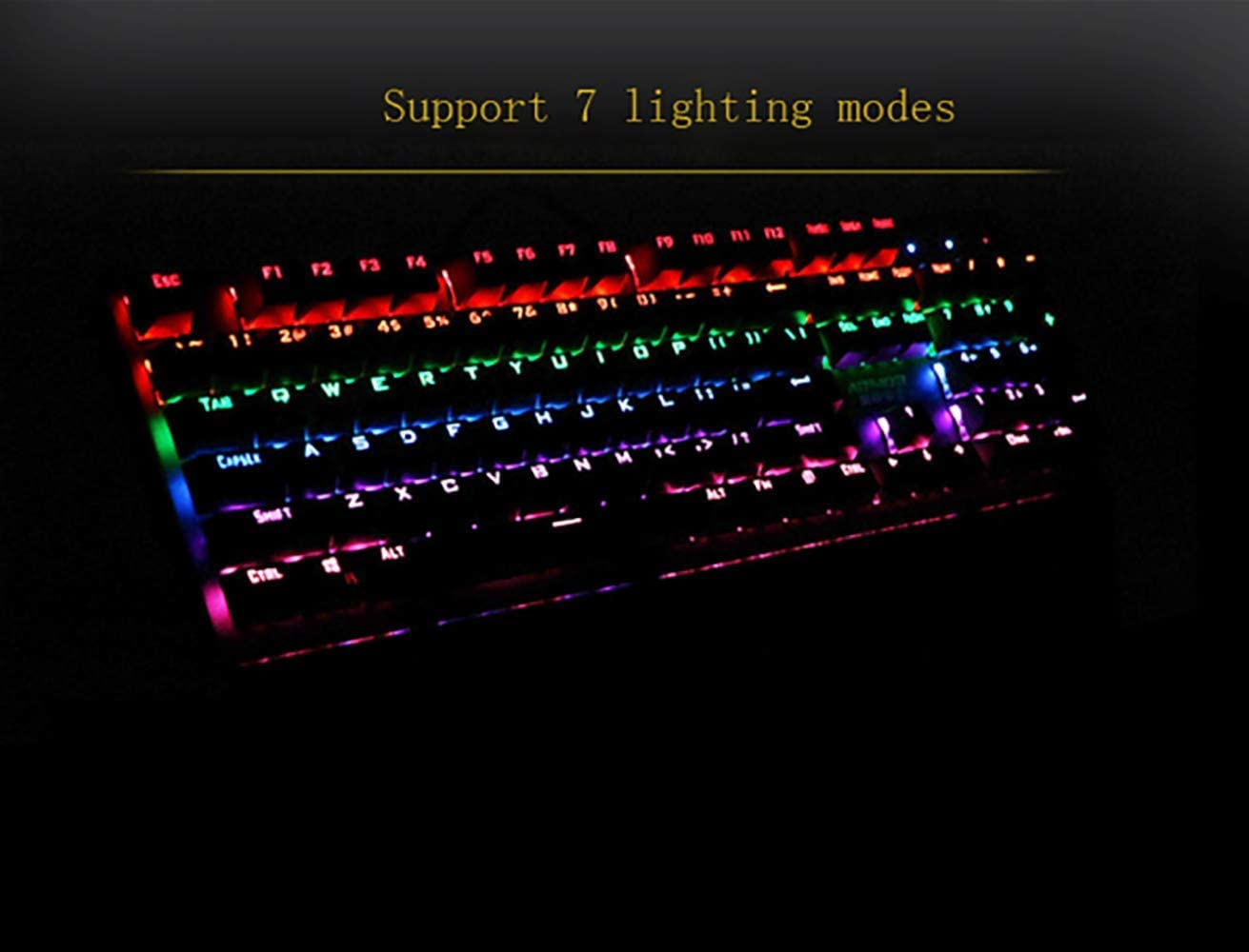 Waterproof Rainbow Backlit Hand Pad Keyboard 104 Key E-Sports Game Mechanical Keyboard 7-Color Backlight Black