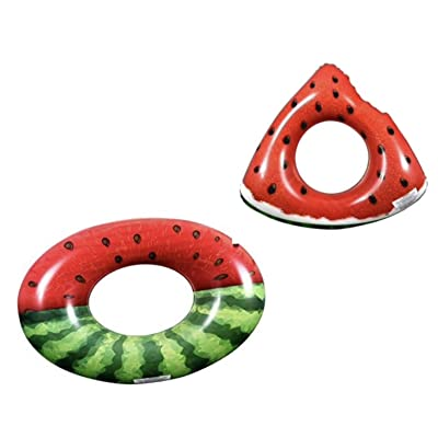 Puffed Up Toy Kids Spring Summer (Bonus Kaliope Kickboard Float) Fun Backyard Outdoor Play Playtime Pool Lake Beach Water Inflatable Ring Watermelos Tube 30in Bundle: Toys & Games