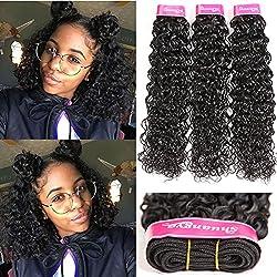 Malaysian Water Wave Hair Grade 8A 100% Human Hair Malaysian Wet And Wavy 3 Bundles Unprocessed Virgin Hair Weave Human Hair Natural Black Color (24 26 28)