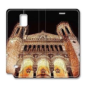 Brian114 Samsung Galaxy Note 4 Case, Note 4 Case - Leather Folio Flip Case Cover for Samsung Note 4 Catholic Basilica Of Notre Dame De Fourviere Customized Stand Leather Cases for Samsung Galaxy Note 4