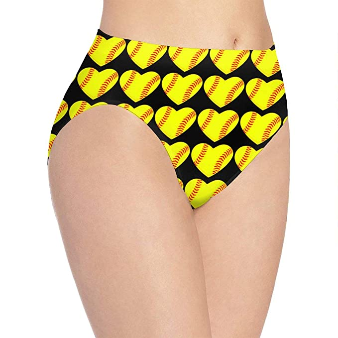 fb522d8ba2a I Love Softball Heart Ms. Print Cute Funny Underwear Panties Sexy Female  Gift White