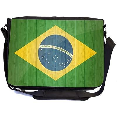 b33bd70b875 Rikki Knight Brazil Flag on Distressed Wood Design Multifunctional  Messenger Bag - School Bag - Laptop