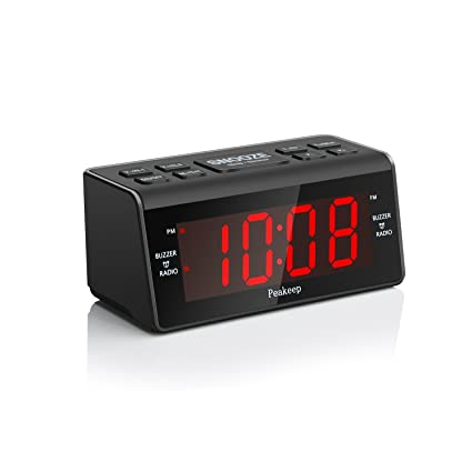 Peakeep Little Digital FM Radio Dual Alarm Clock with Snooze and Sleep Timer, Large Display with 2 Dimmer