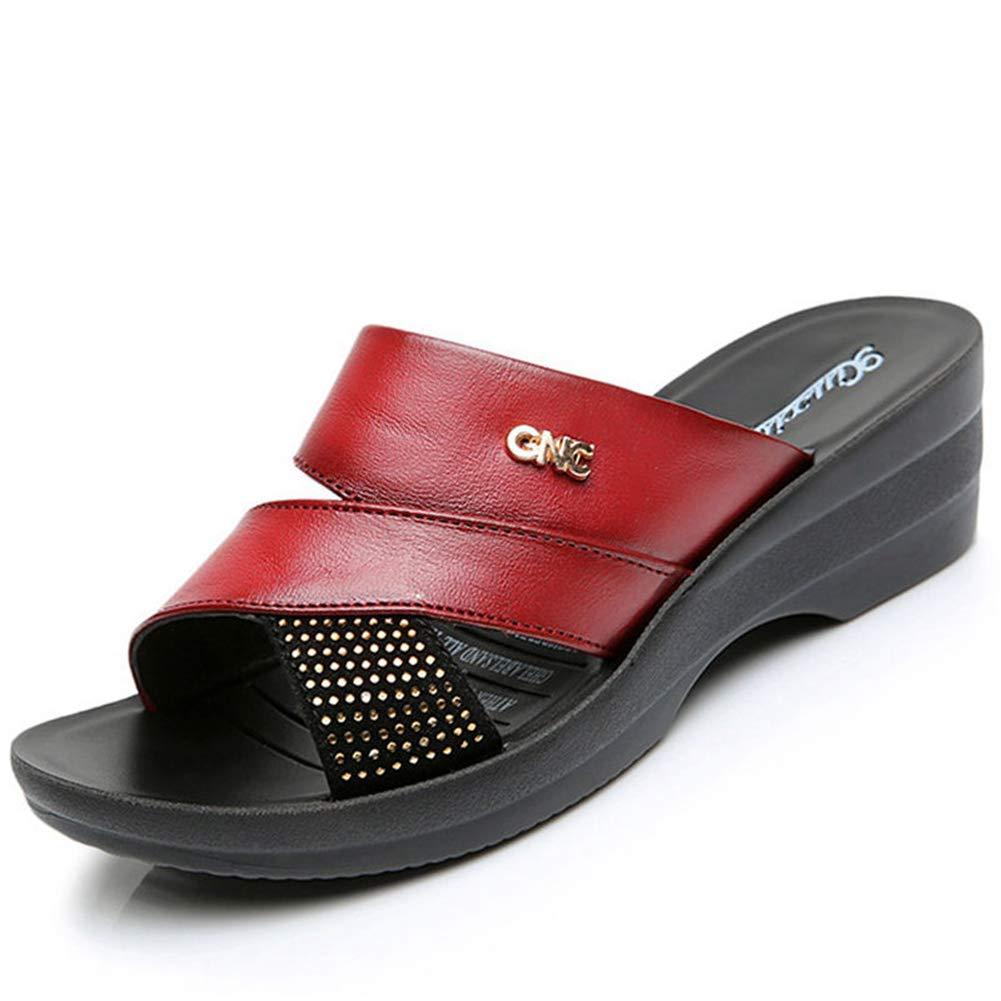 UUGULO Women Shoes Rhinestone Wedges Outside Ladies Slippers