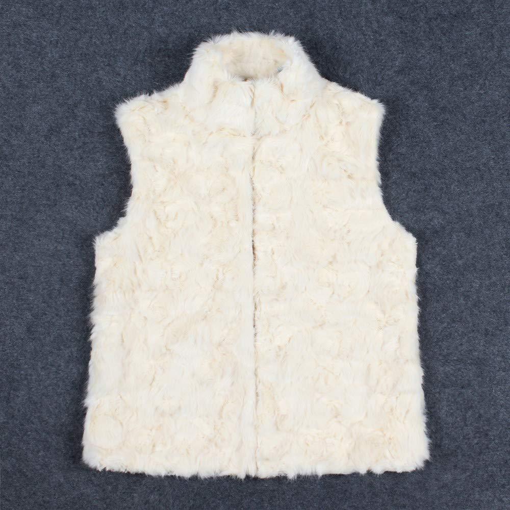 Kangma Women Faux Fur Ladies Sleeveless Vest Waistcoat Jacket Gilet Shrug Coat Outwear