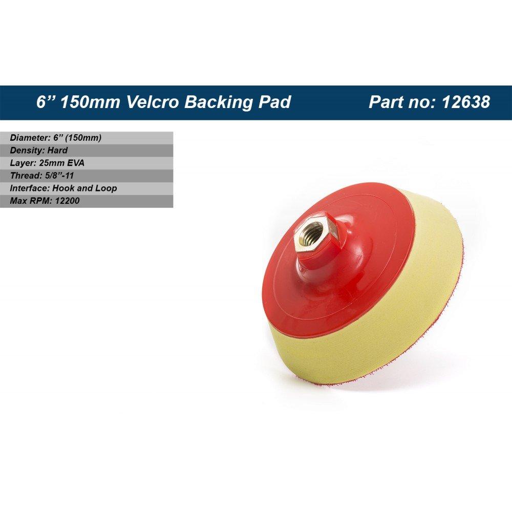 6 inch (150mm) Velcro Backing Pad, EVA layer 25mm, Thread 5/8''-11, Sanding Pad, Polishing Pad, Velcro Backed Thread 5/8' ' -11 Glass Polish 12638