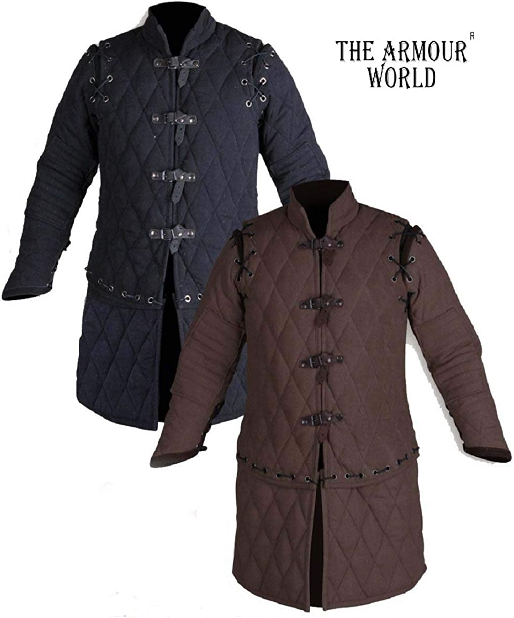 THE ARMOUR WORLD Thick Padded Medieval Gambeson Armor Arming Doublet Theater Costumes Full Sleeves Dress SCA Cotton Fabric Aketon Jacket