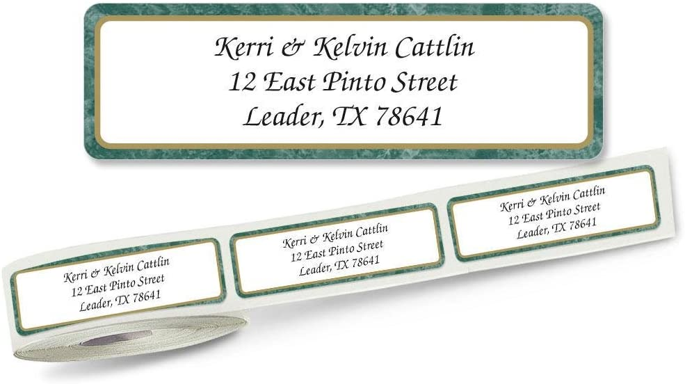 Green Border Rolled Address Labels with Clear Dispenser by Colorful Images Roll of 250