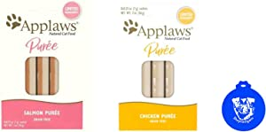Applaws Lickable Puree Cat Treats in 2 Flavors: (1) Salmon and (1) Chicken (.25 Ounce Sachets, 8 Count per Flavor, 16 Treats Total) Plus Silicone Lid