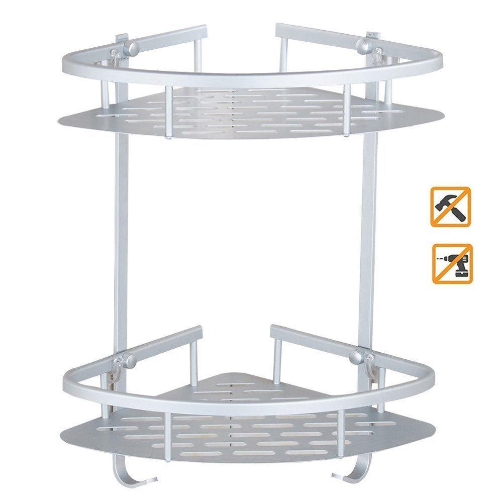 Ouken Corner Shower Caddy 2-Tier No Drilling Wall Mount Bathroom Aluminum Shelf Rack with Hooks