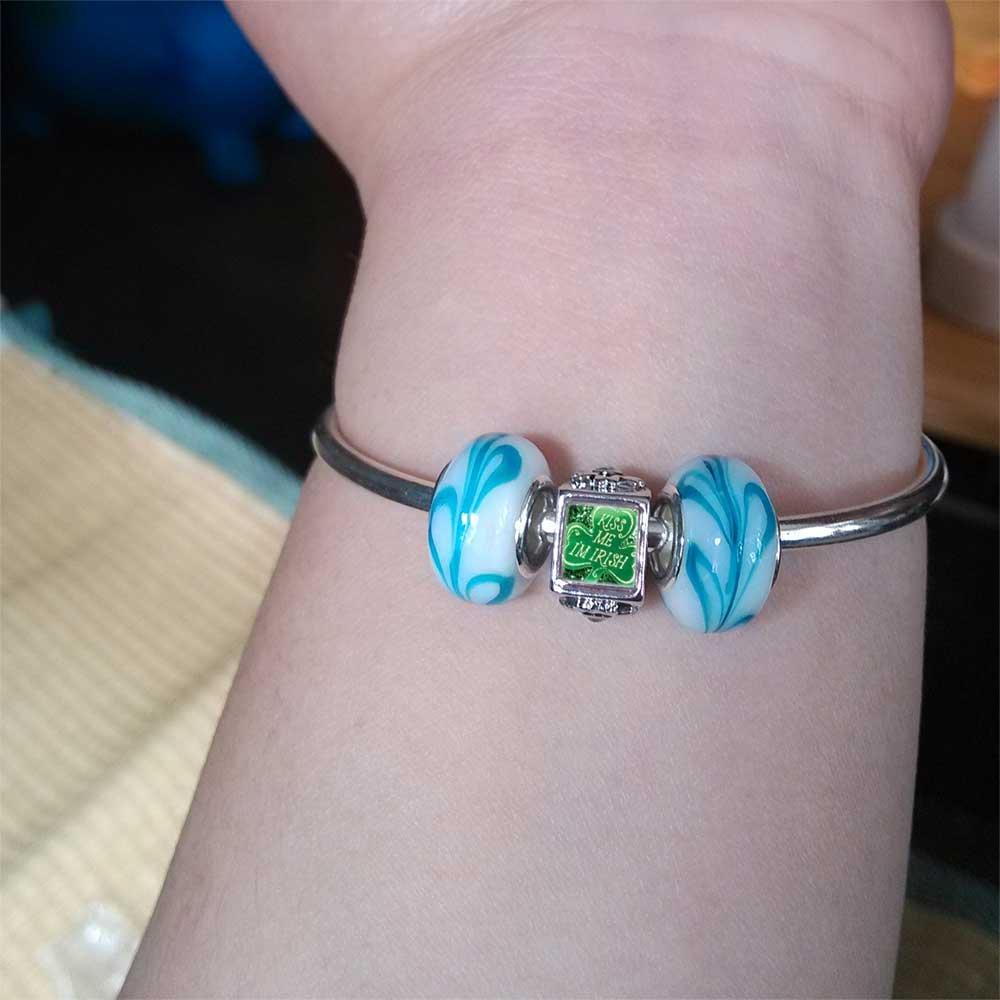 GiftJewelryShop Silver Plated Kiss Me Im Irish Blue Zircon Crystal December Birthstone Flower Bead Charm Bracelets