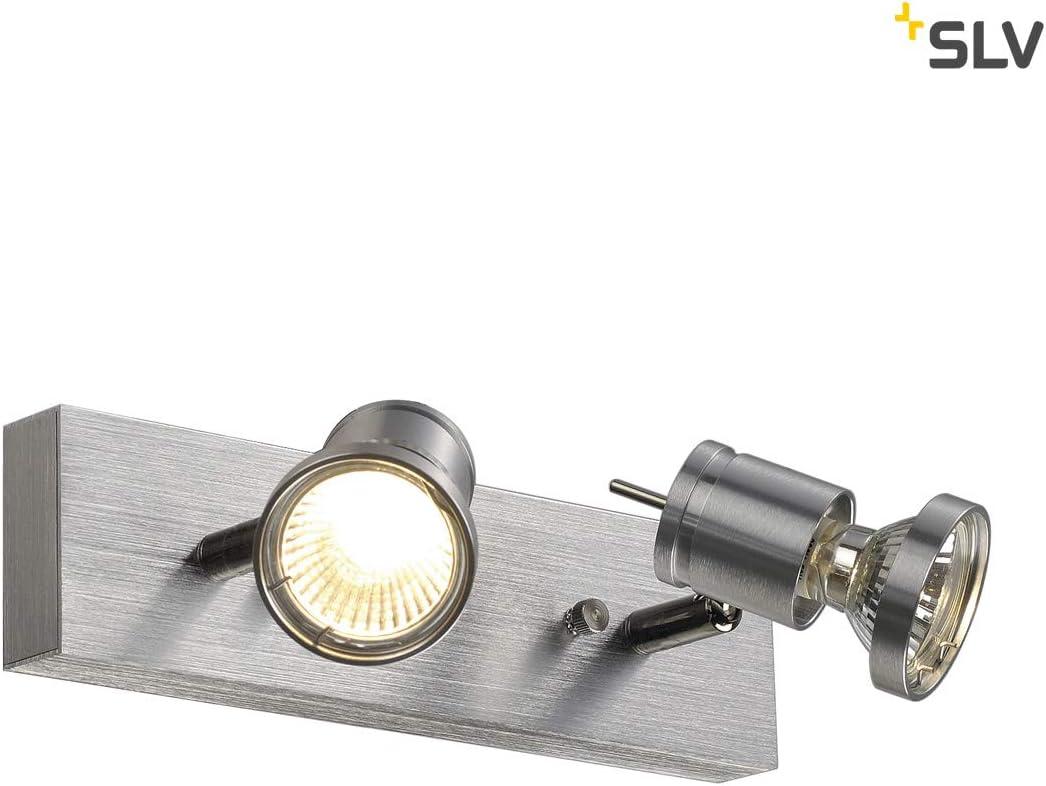 SLV ASTO II Wall and Ceiling Light max Aluminium GU10 75W alu Brushed 2xGU10 Spot Silver-Grey