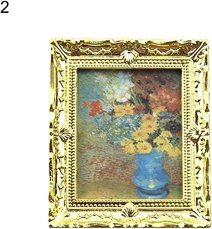 Golden Frame Flower Oil Painting Wall Picture Dollhouse Miniature Art Decor