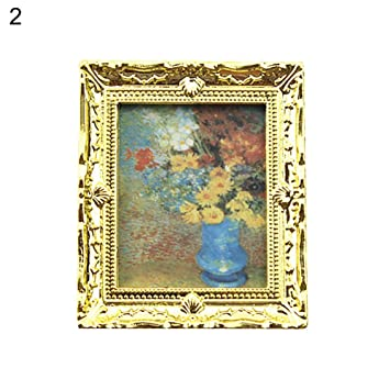 Doll House 1:12  Miniature Flower Oil Painting Home Accessories Toy