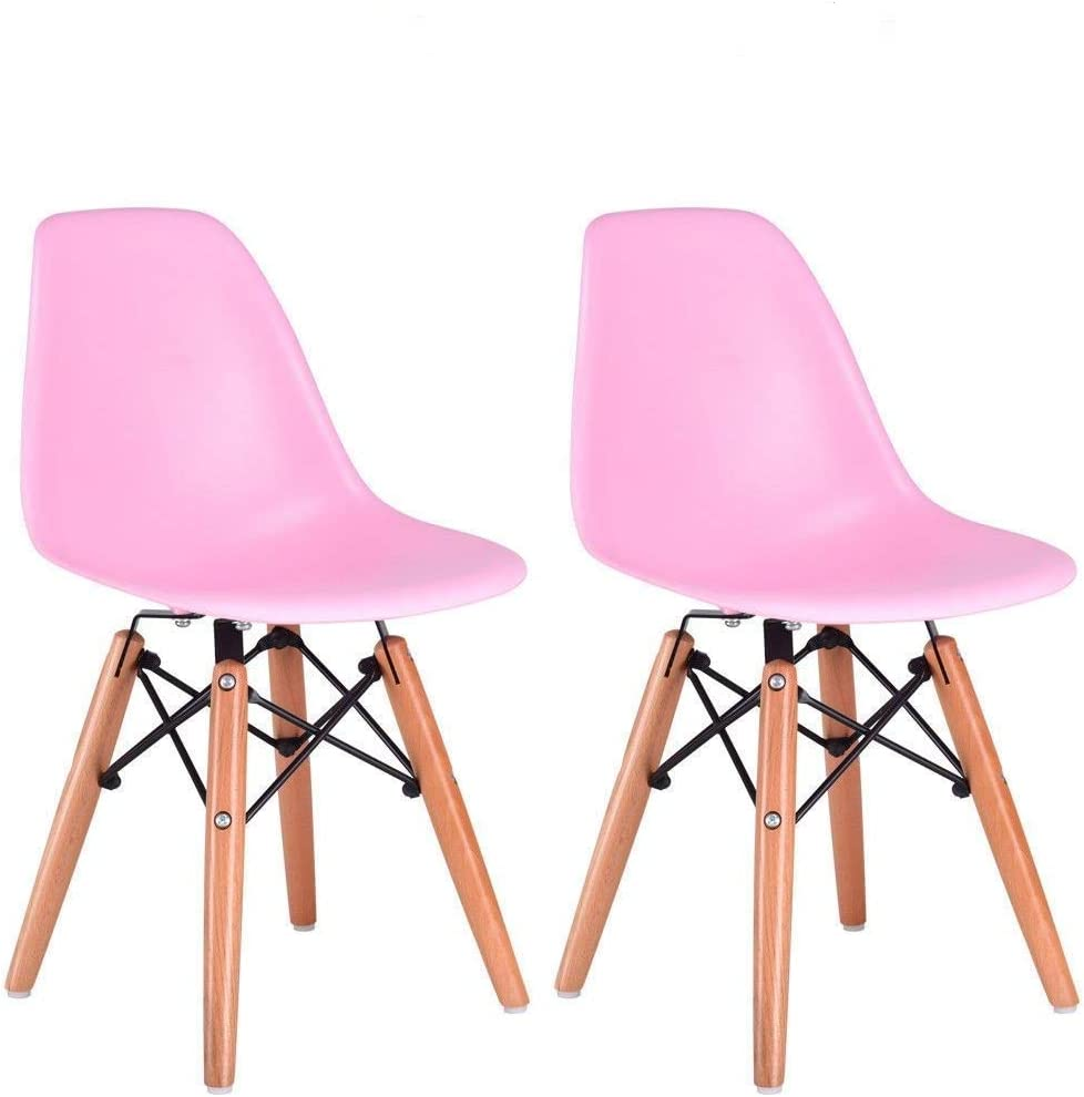 Costzon Set of 2 Kids Dining Chair, Modern Molded Shell Chair with Dowel Wood Eiffel Legs Pink