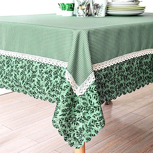 Decorative Green Mesh Print Lace Water Resistant Tablecloth Wrinkle Free and Stain Resistant Fabric Tablecloths for Dining Room 60 Inch by 104 Inch