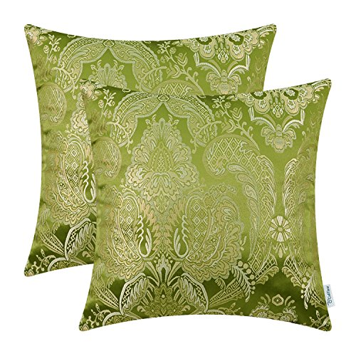 CaliTime Pack of 2 Supersoft Throw Pillow Covers Cases for Couch Sofa Home Decor Vintage Damask Floral 18 X 18 Inches Olive Green