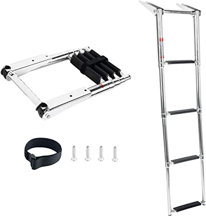 3 Step Mirror Stainless MarineTelescoping Boat Ladder Upper Platform FINE