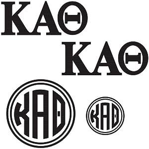 Kappa Alpha Theta Decal Kit for Laptop, Car, Yeti, Water Bottle (Black)